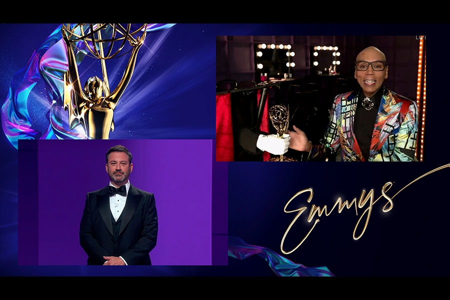 Jimmy Kimmel presents the Emmy for Outstanding Competition Program to RuPaul for RuPaul's Drag Race during the 72nd Emmy Awards.