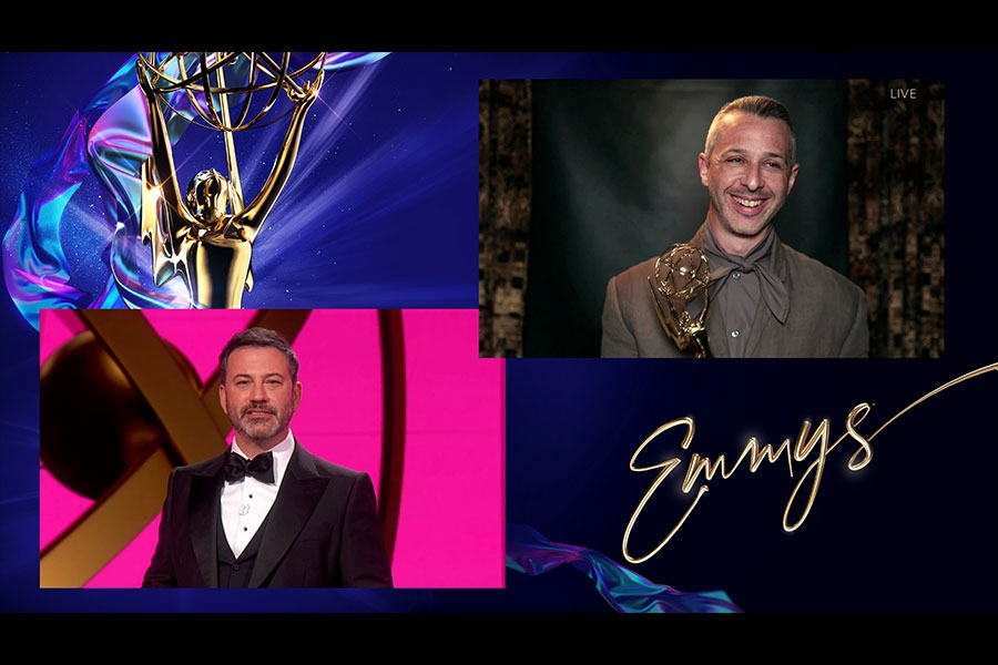 Jimmy Kimmel presents the award for Outstanding Lead Actor in a Drama Series to Jeremy Strong for Succession at the 72nd Emmy Awards.