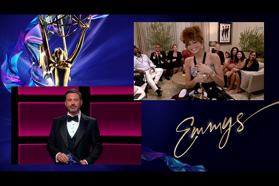 Jimmy Kimmel presents the award for Outstanding Lead Actress in a Drama Series to Zendaya for Euphoria at the 72nd Emmy Awards.