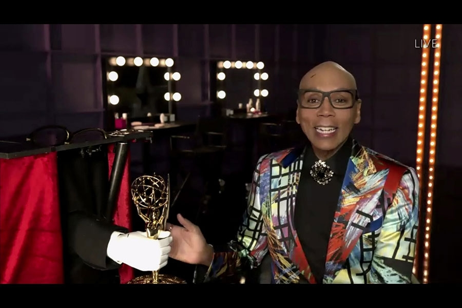 RuPaul accepts the Emmy for Outstanding Competition Program for RuPaul's Drag Race during the 72nd Emmy Awards.