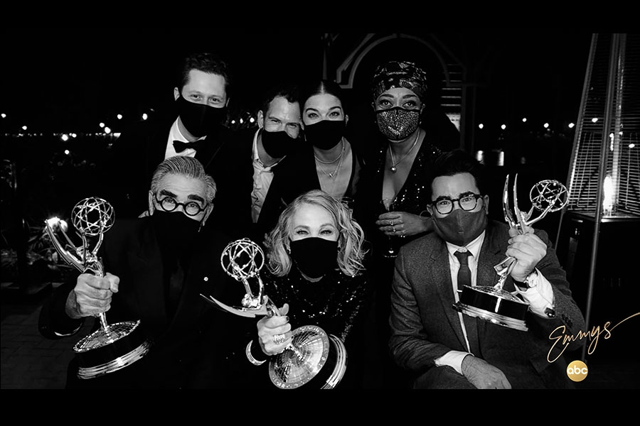 The team from Schitt's Creek in an ABC Virtual Portrait for the 72nd Emmy Awards.