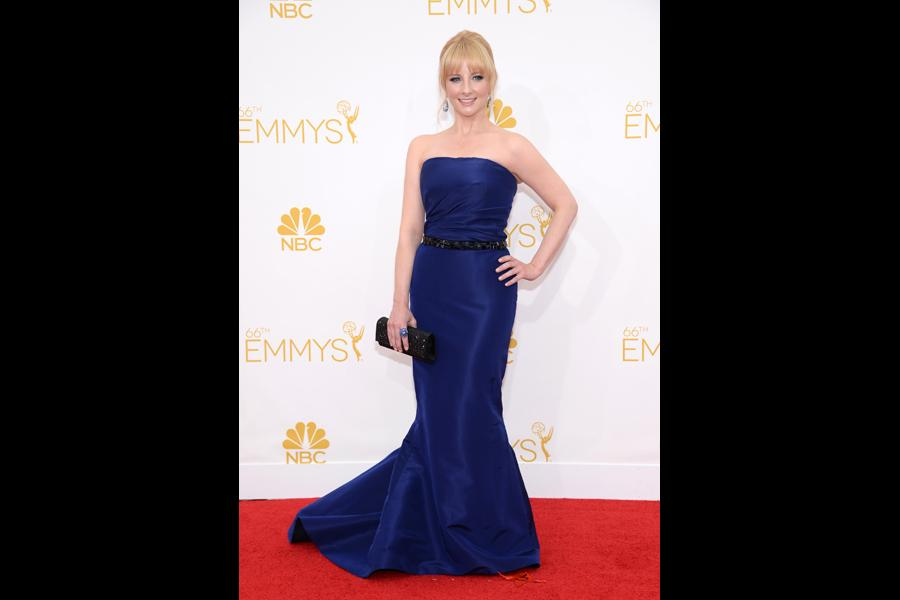 Melissa Rauch of The Big Bang Theory arrives at the 66th Emmy Awards.