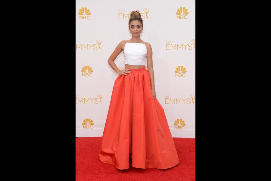 Sarah Hyland of Modern Family arrives at the 66th Emmy Awards.