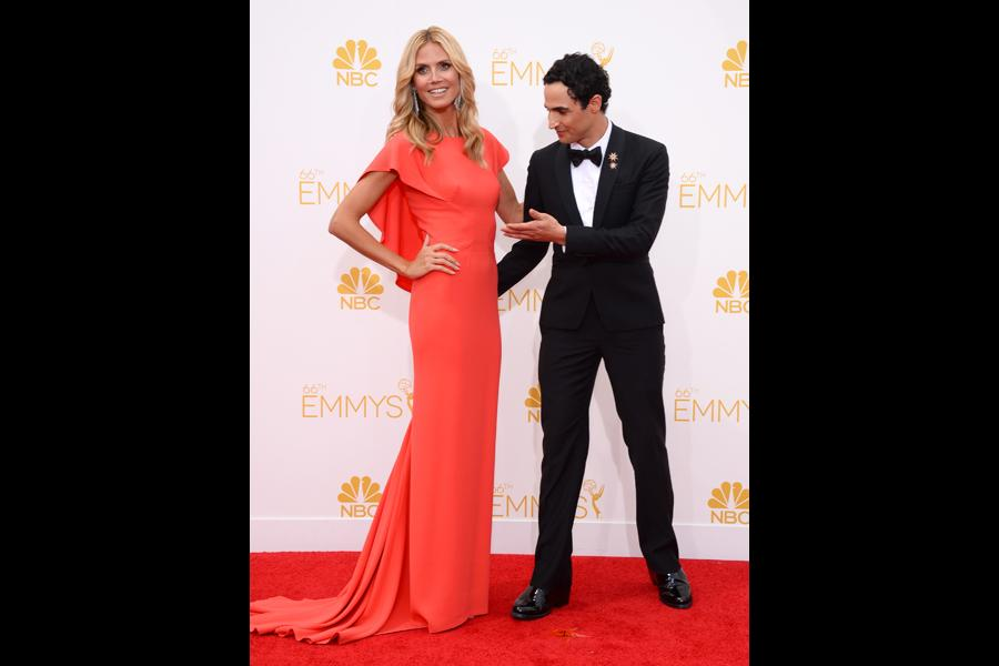 Heidi Klum of Project Runway and Zac Posen arrive at the 66th Emmy Awards.