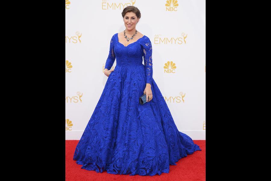 Mayim Bialik of The Big Bang Theory arrives at the 66th Emmy Awards.