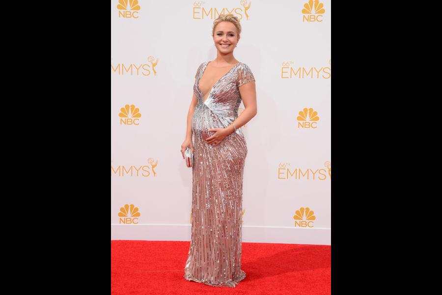 Hayden Panettiere of Nashville arrives at the 66th Emmy Awards.