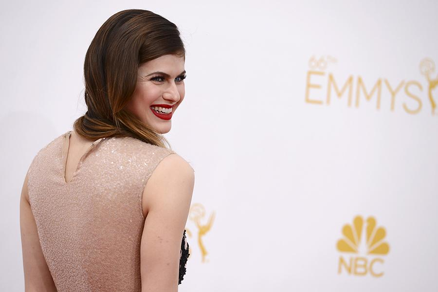 Alexandra Daddario of True Detective arrives at the 66th Emmy Awards.