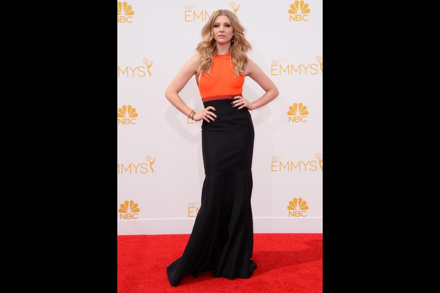 Natalie Dormer of Game of Thrones arrives at the 66th Emmy Awards.