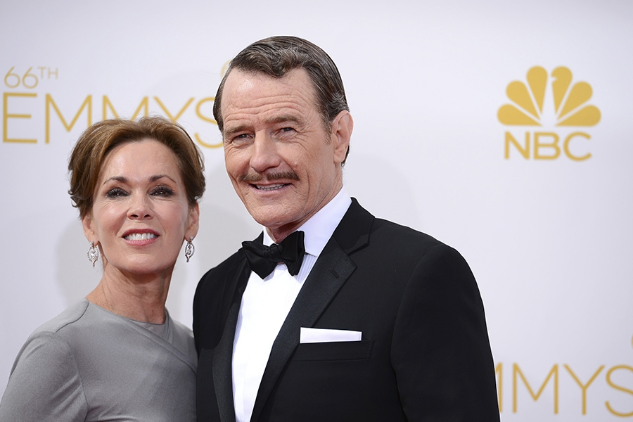 Bryan Cranston of Breaking Bad and his wife, Robin Dearden arrive at the 66th Emmy Awards.