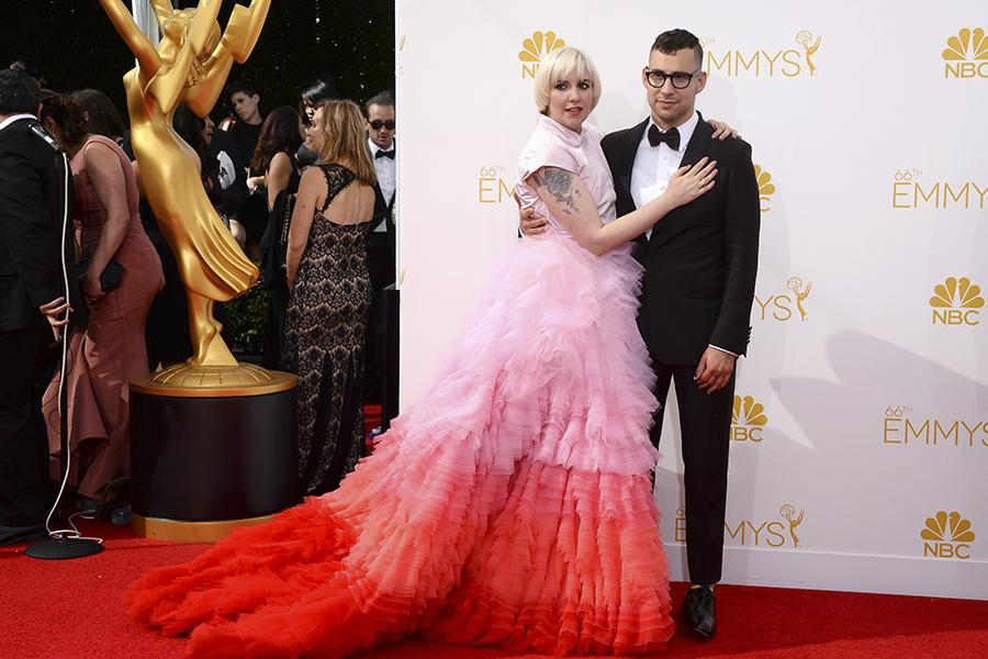 Lena Dunham of Girls and musician Jack Antonoff arrive at the 66th Emmy Awards.