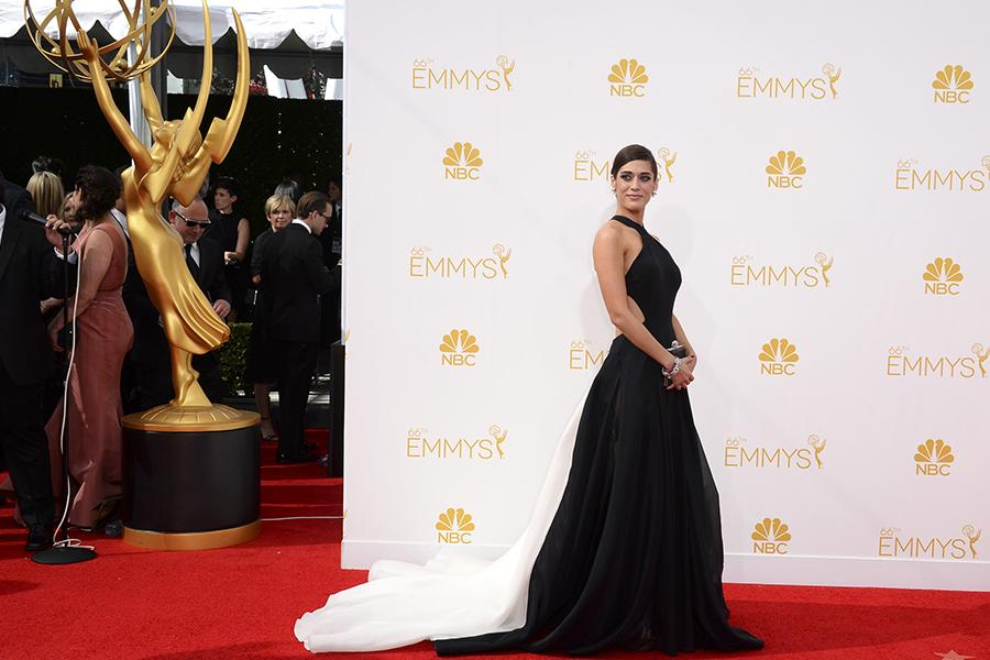Lizzy Caplan of Masters of Sex arrives at the 66th Emmys.