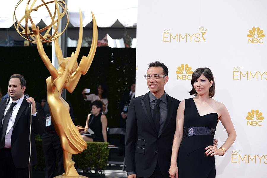 Fred Armisen and Carrie Brownstein of Portlandia arrive at the 66th Emmys.