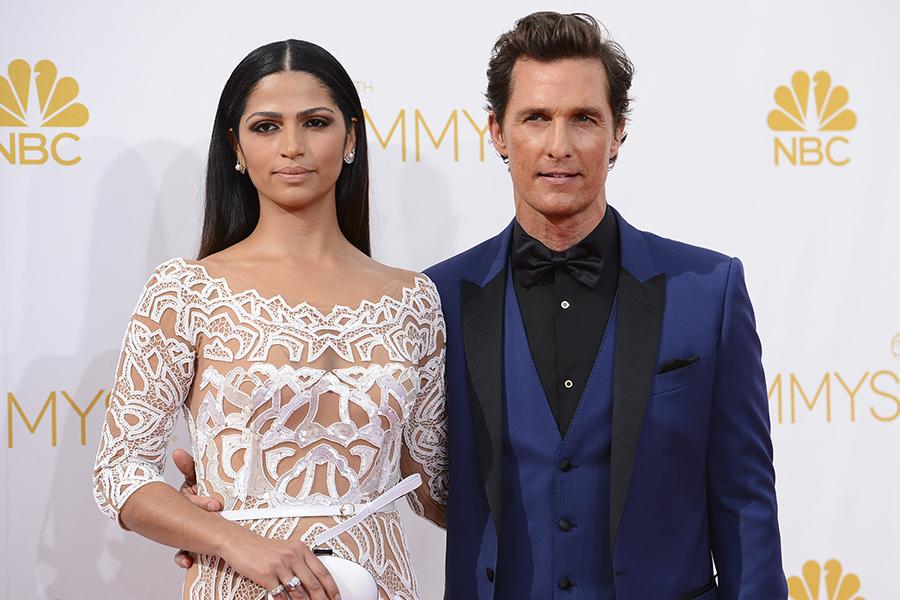 Matthew McConaughey of True Detective and his wife Camila Alves arrive at the 66th Emmy Awards.
