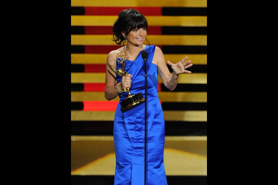Gail Mancuso accepts the award for outstanding directing for a comedy series for her work on Modern Family at the 66th Emmys.