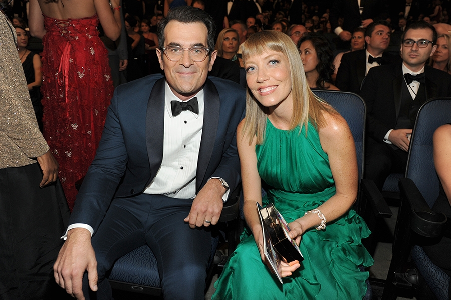 Ty Burrell (l) of Modern Family and wife Holly Burrell at the 66th Emmy Awards.