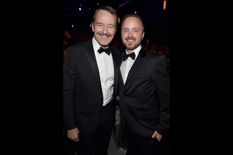 Bryan Cranston (l) and Aaron Paul (r) of Breaking Bad at the 66th Emmy Awards.