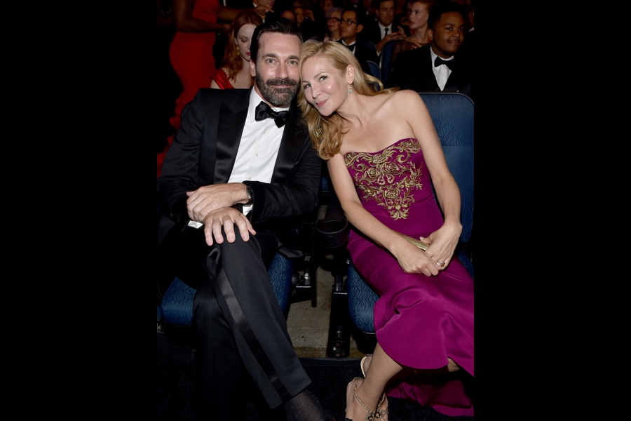 Jon Hamm (l) of Mad Men and Jennifer Westfeldt (r) at the 66th Emmys.