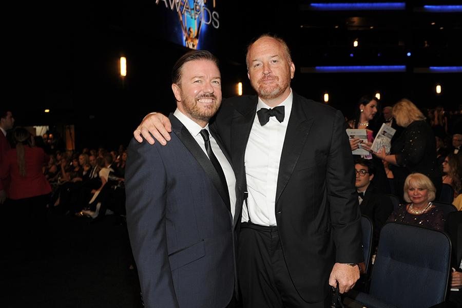 Ricky Gervais (l) of Derek and Louis C.K. (r) of Louie at the 66th Emmys.