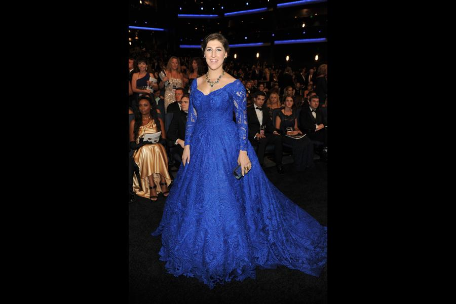 Mayim Bialik of The Big Bang Theory at the 66th Emmy Awards.