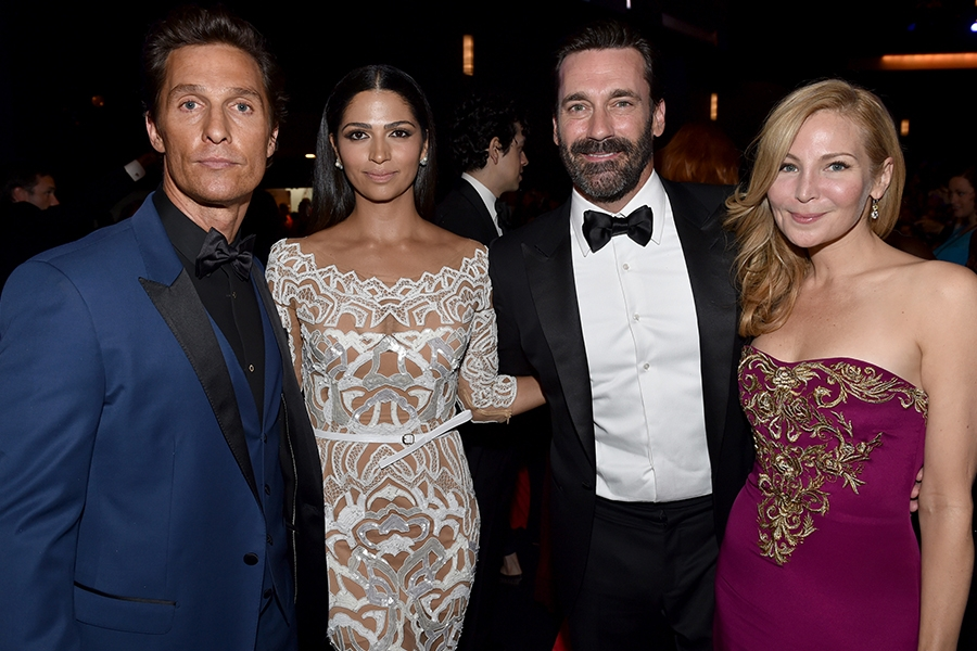 (From left) Matthew McConaughey, Camila Alves, Jon Hamm, and Jennifer Westfeldt at the 66th Emmy Awards.