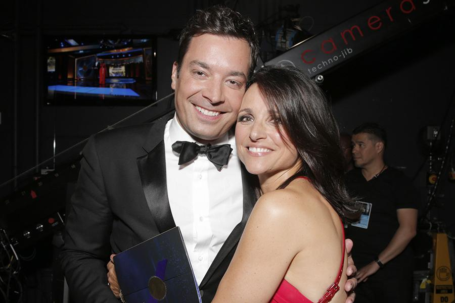 Jimmy Fallon (l) of The Tonight Show Starring Jimmy Fallon and Julia-Louis Dreyfus of Veep at the 66th Emmy Awards.