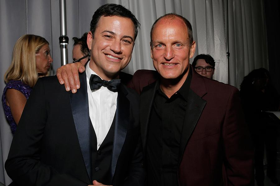 Jimmy Kimmel (l) of Jimmy Kimmel Live! and Woody Harrelson (r) of True Detective backstage at the 66th Emmys.