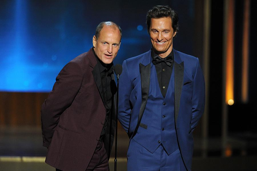 Woody Harrelson (l) and Matthew McConaughey (r) of True Detective present an award at the 66th Emmys.
