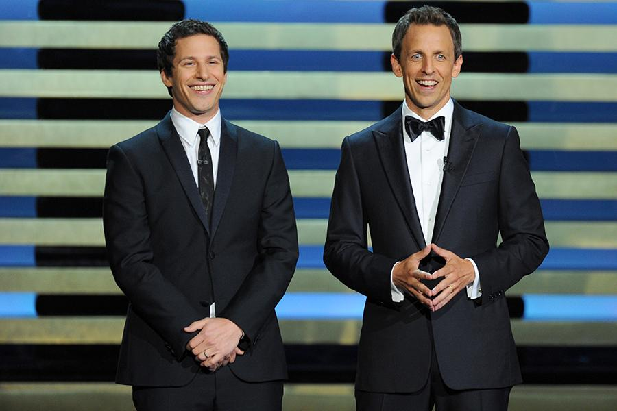 Andy Samberg (l) of Brooklyn Nine-Nine and Seth Meyers (r) of Late Night With Seth Meyers at the 66th Emmy Awards.