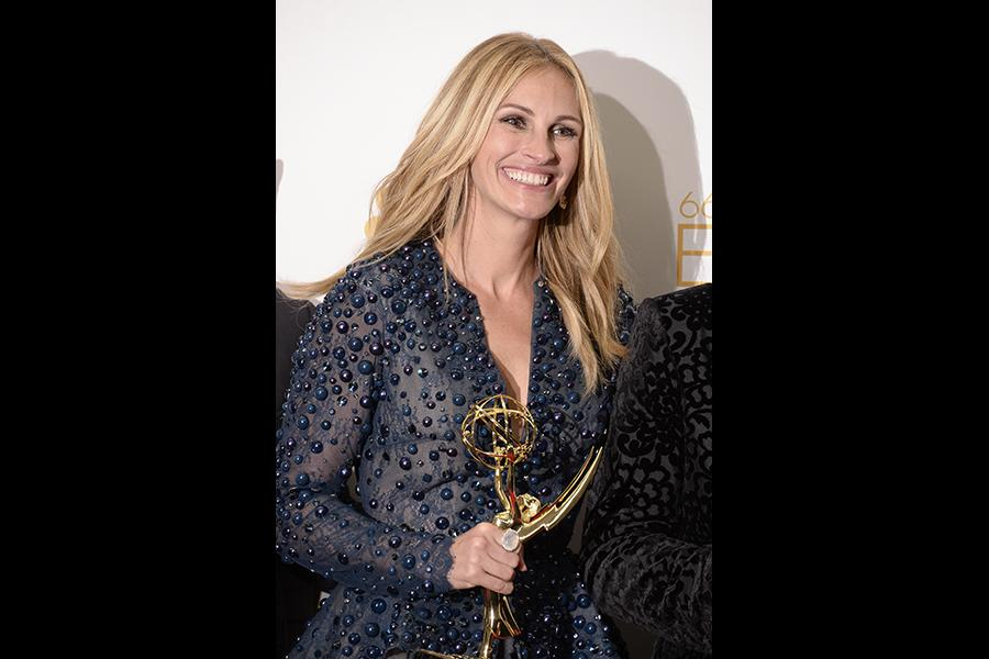 Julia Roberts of The Normal Heart celebrates at the 66th Emmy Awards.
