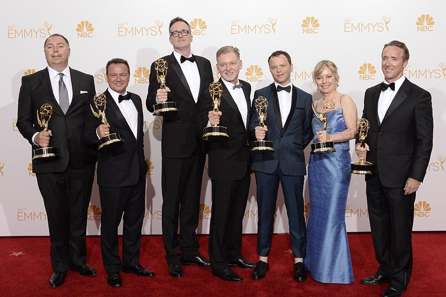 The producers of Fargo celebrate their win at the 66th Emmy Awards.