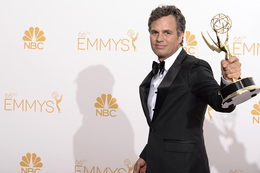 Mark Ruffalo of The Normal Heart celebrates at the 66th Emmys.