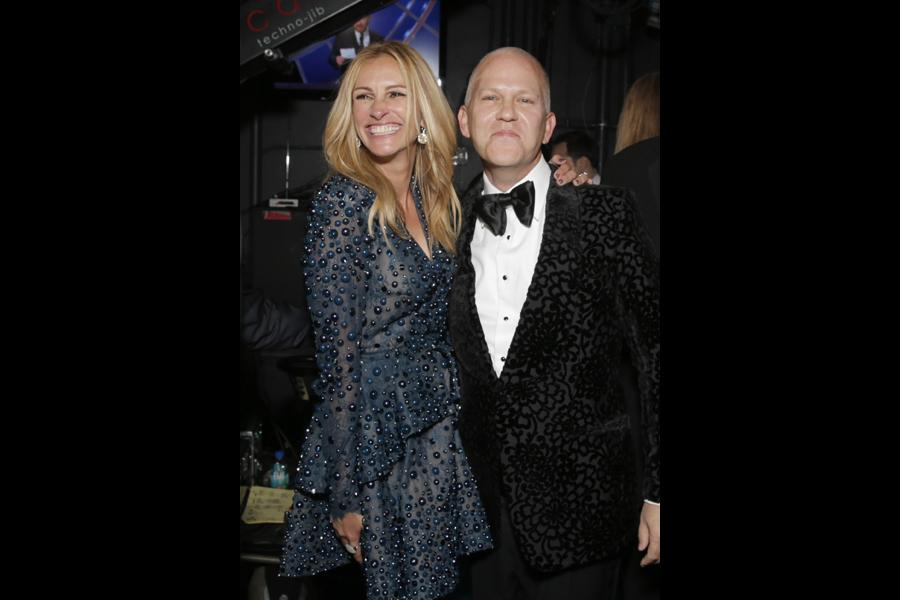 Julia Roberts (l) and Ryan Murphy (r) of The Normal Heart backstage at the 66th Emmys.