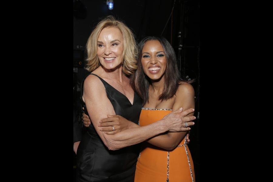 Jessica Lange (l) of American Horror Story and Kerry Washington (r) of Scandal at the 66th Emmys.