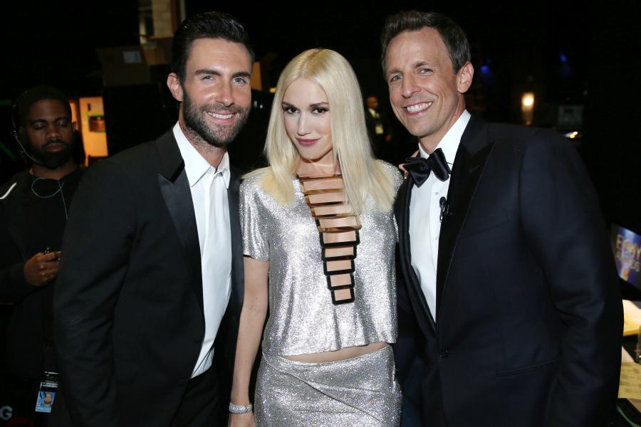 Adam Levine (l), Gwen Stefani (c) and Seth Meyers (r) at the 66th Emmy Awards.