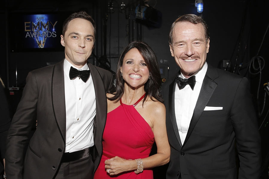 Jim Parsons (l), Julia-Louis Dreyfus (c) and Bryan Cranston (r) at the 66th Emmy Awards.