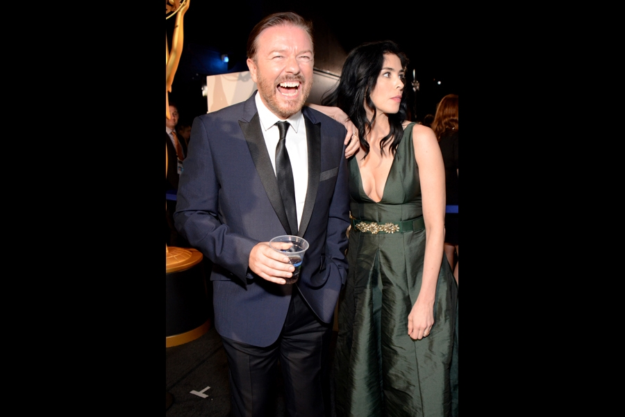Ricky Gervais (l) of Derek and Sarah Silverman (r) of Sarah Silverman: We Are Miracles backstage at the 66th Emmys.