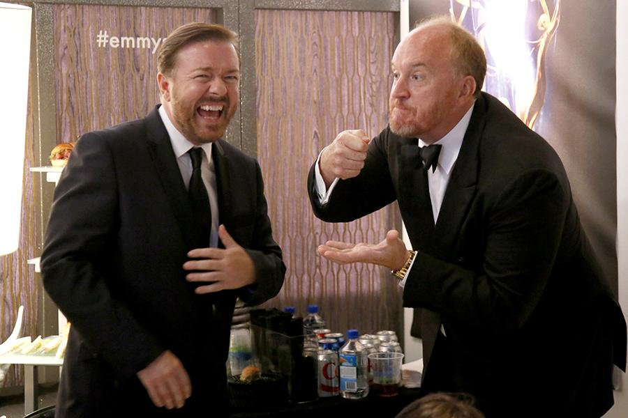 Ricky Gervais (l) of Derek and Louis C.K. (r) of Louie backstage at the 66th Emmys.