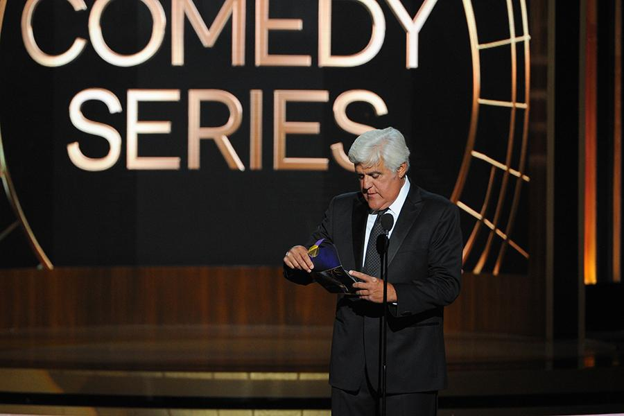 Jay Leno presents an award at the 66th Emmys.