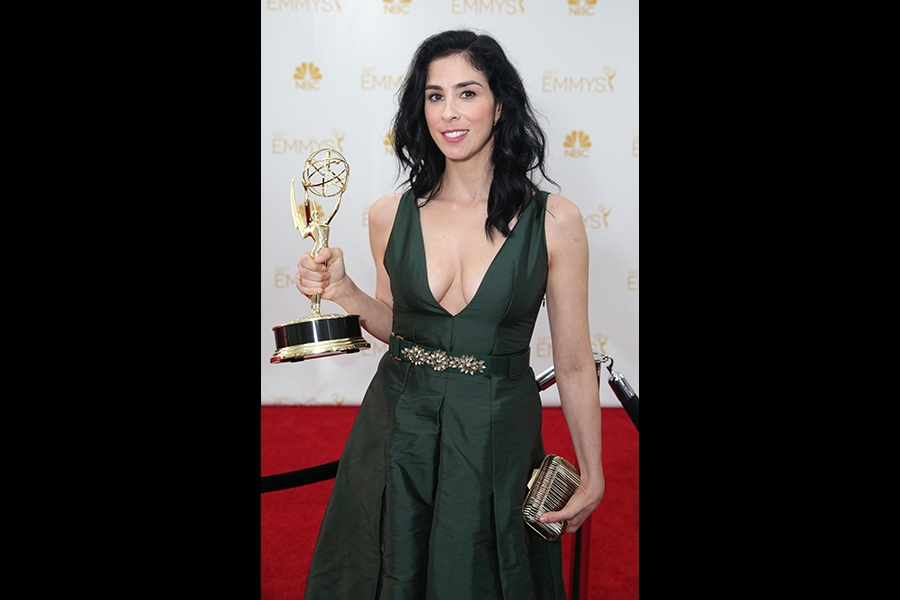 Sarah Silverman of Sarah Silverman: We Are Miracles celebrates at the 66th Emmys.
