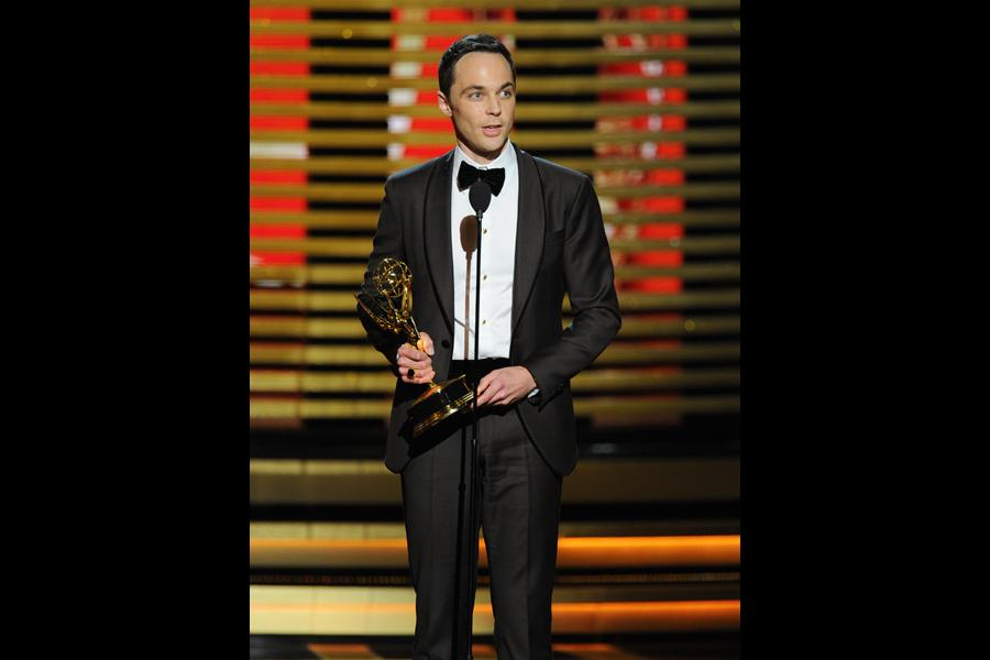 Jim Parsons of The Big Bang Theory accepts an award at the 66th Emmy Awards.