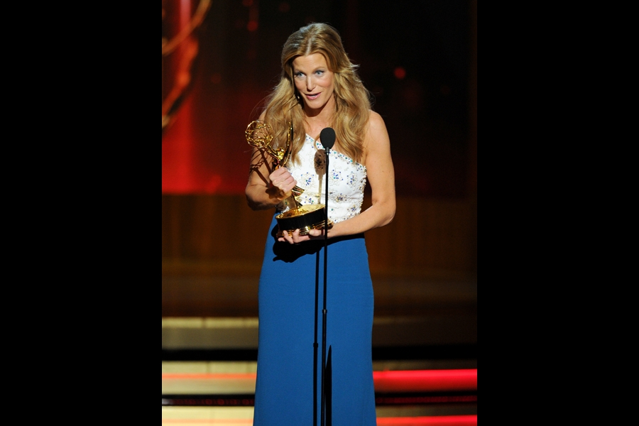 Anna Gunn of Breaking Bad accepts an award at the 66th Emmy Awards.