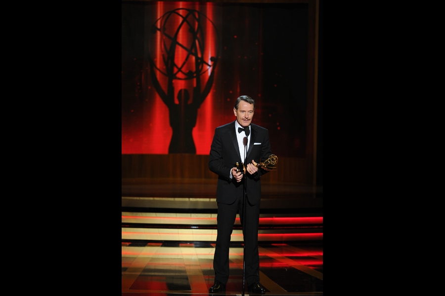 Bryan Cranston of Breaking Bad accepts an award at the 66th Emmy Awards.