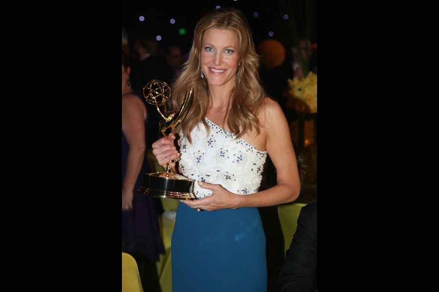 Anna Gunn of Breaking Bad celebrates her win at the 66th Emmys Governors Ball.