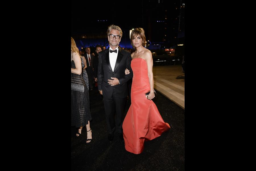 Harry Hamlin (l) of Mad Men and Lisa Rinna (r) at the 66th Emmys Governors Ball.