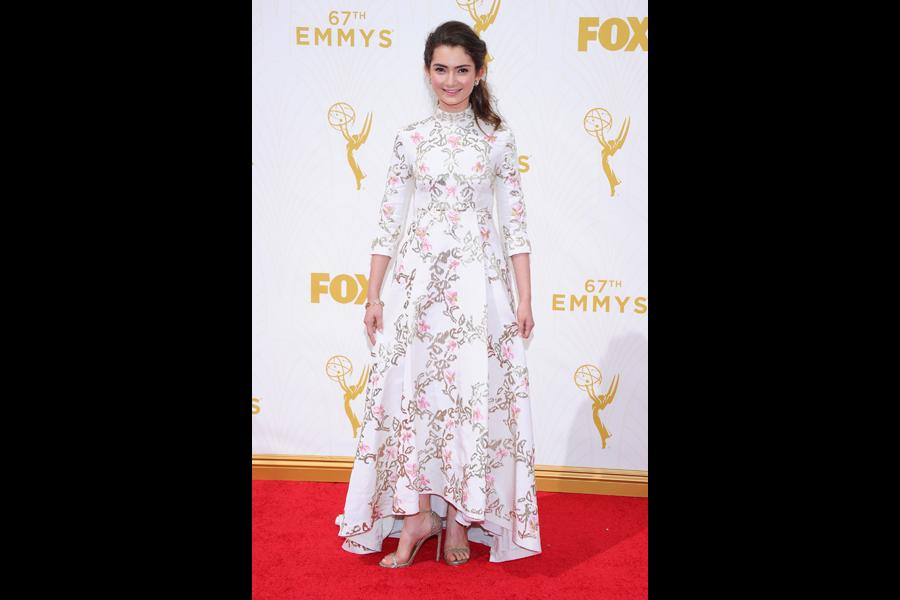 Emily Robinson on red carpet at the 67th Emmy Awards.
