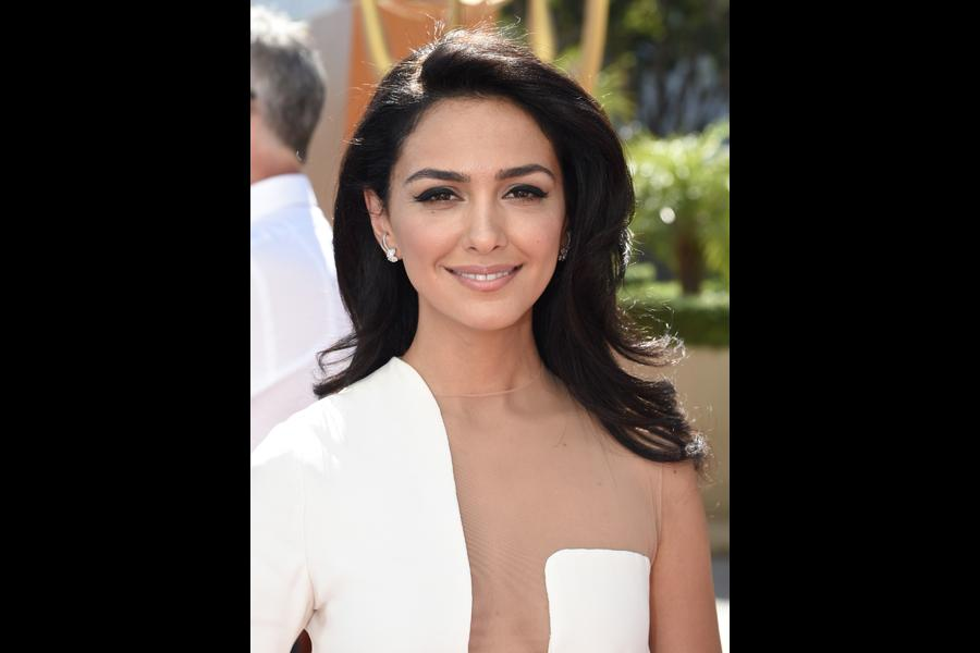 Nazanin Boniadi on the red carpet at the 67th Emmy Awards.