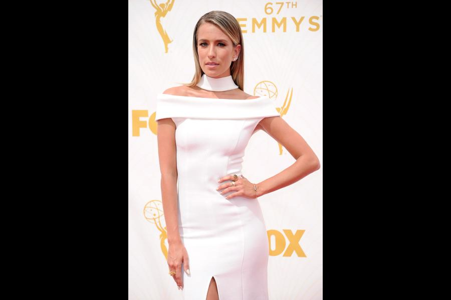 Renée Bargh on the red carpet at the 67th Emmy Awards.