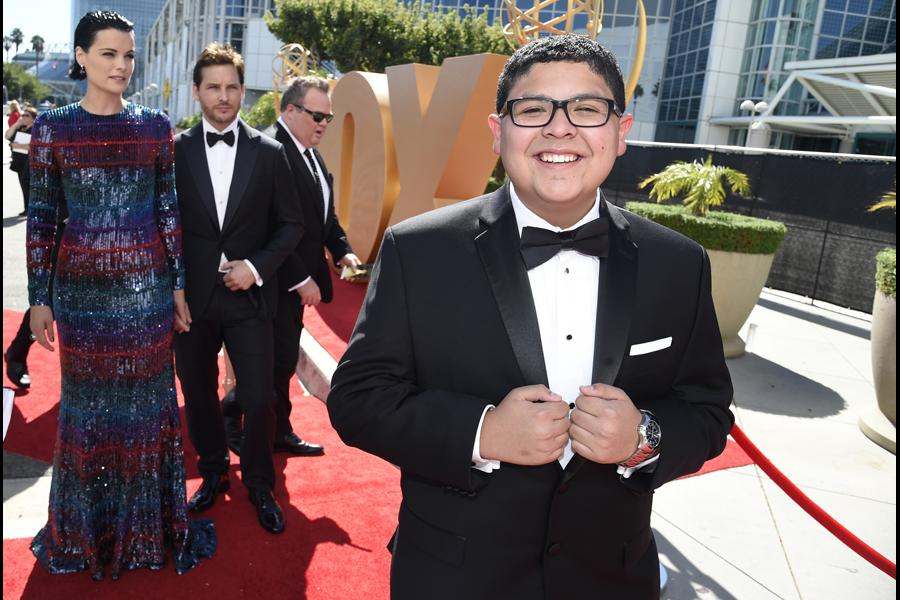 Rico Rodriguez on the red carpet at the 67th Emmy Awards.