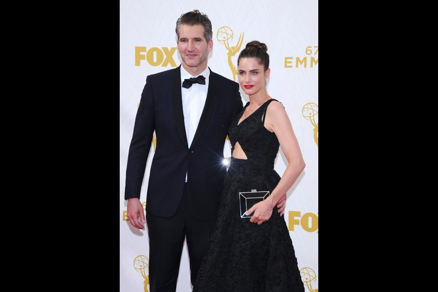 David Benioff and Amanda Peet on the red carpet at the 67th Emmy Awards.