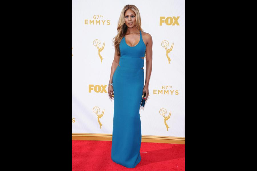 Laverne Cox on the red carpet at the 67th Emmy Awards.